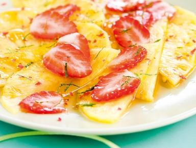Accords mets & vins - Carpaccio de fraises et d'ananas au muscat