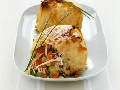 Accords mets & vins - Tourte au crabe et petits légumes