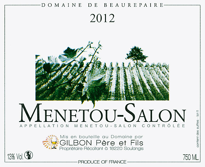 Vin blanc domaine de beaurepaire 2012 menetou salon for Menetou salon 2012