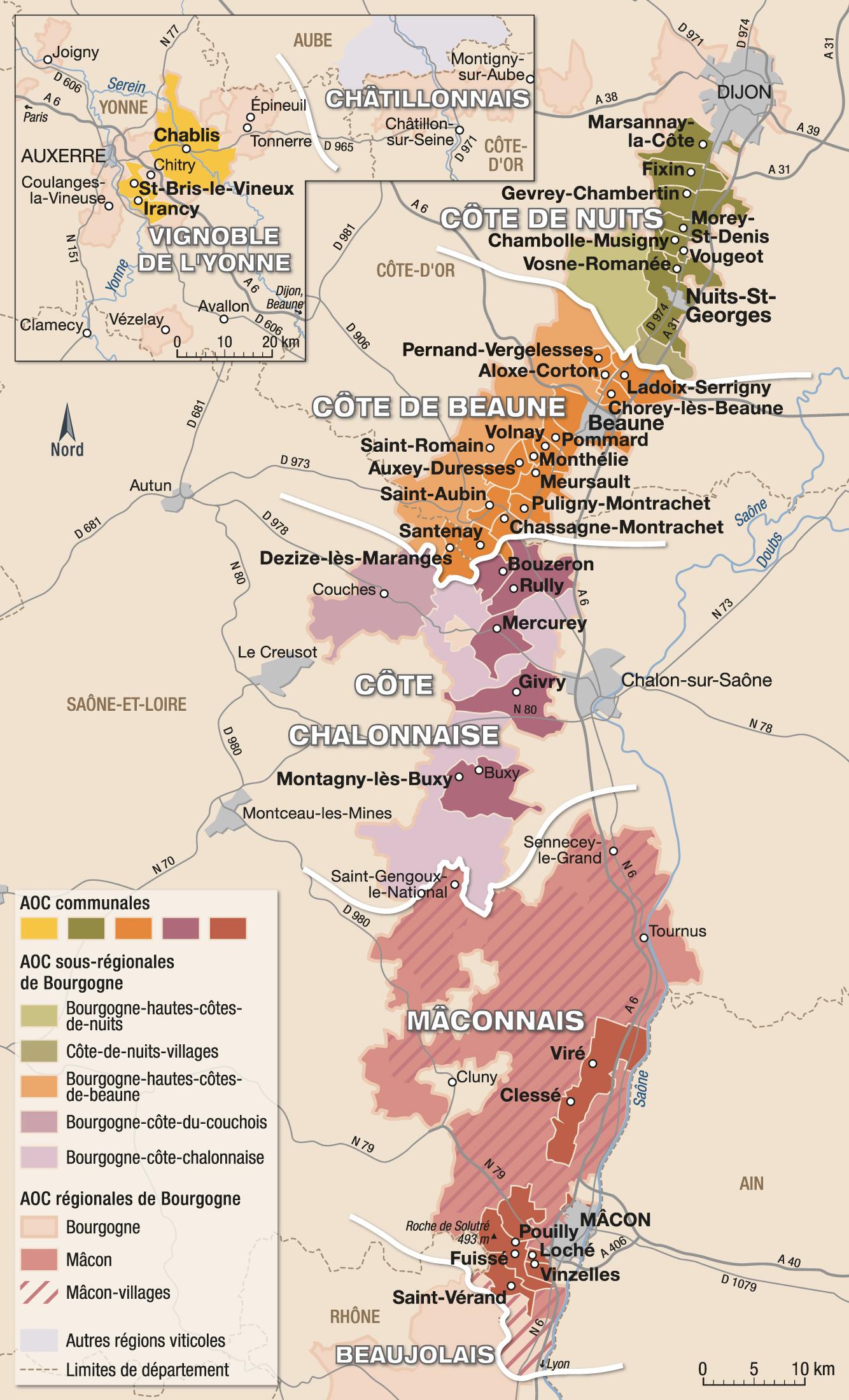 Carte Bourgogne Blanc.Vins Et Appellations De Bourgogne Guide Hachette Des Vins