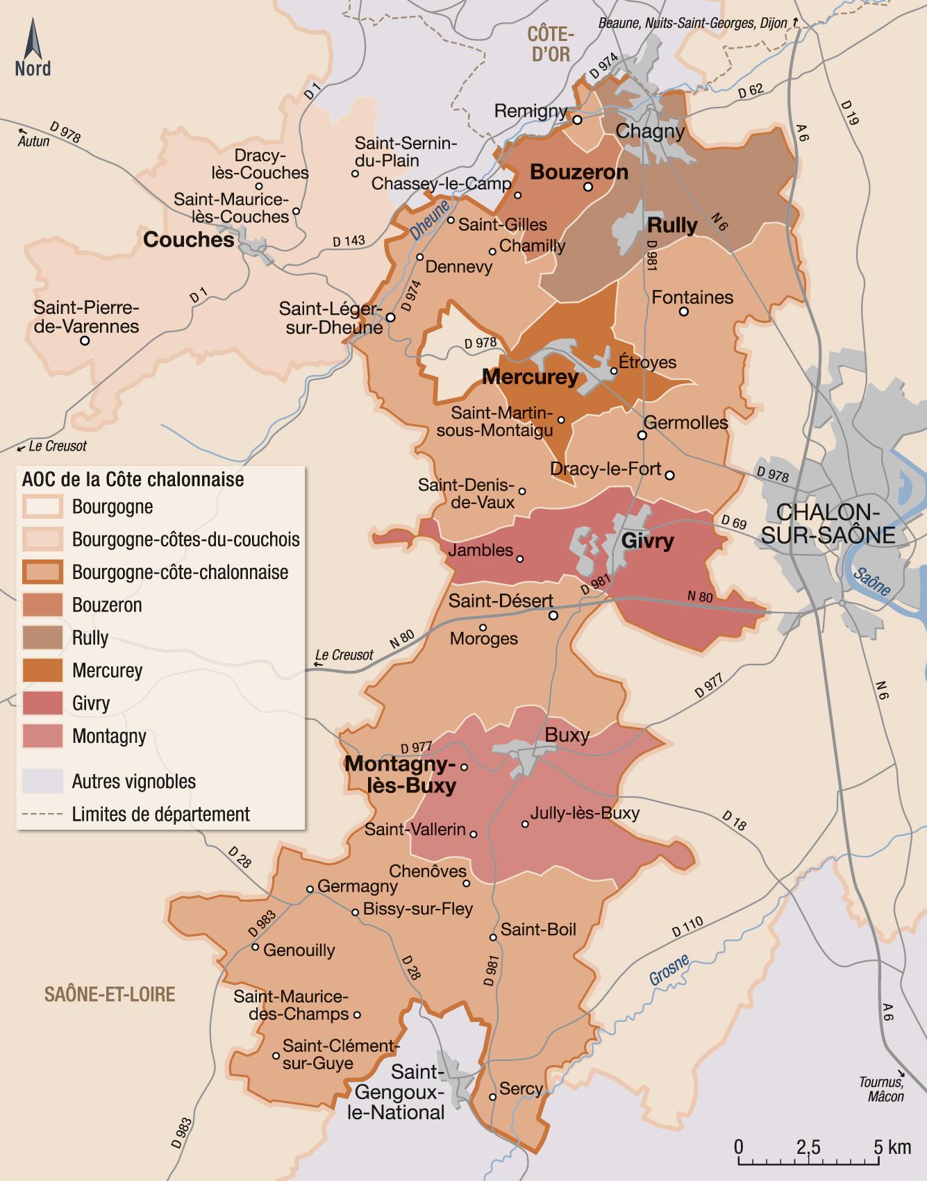 Carte Vin Bourgogne Blanc.Vins Et Appellations De La Cote Chalonnaise Guide Hachette
