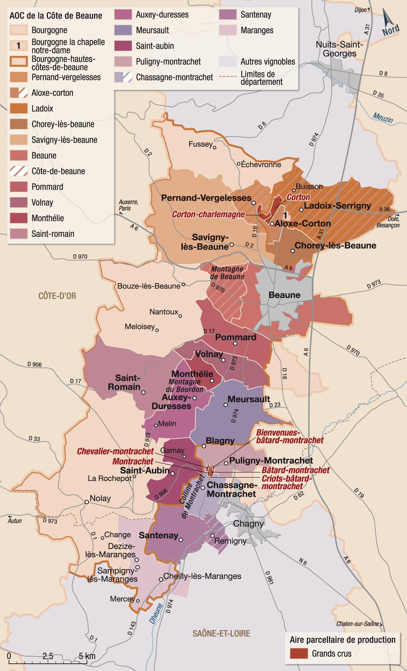 Carte Bourgogne Viticole.Vins Et Appellations De La Cote De Beaune Guide Hachette Des Vins